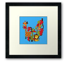 Colorful Safari Animals Giraffe Lion Tiger Framed Print