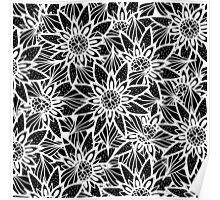 Modern Elegant Black White Tangle Flower Drawing Poster