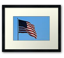 USA - American Flag in the wind Framed Print