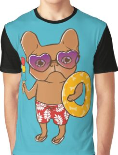 Frenchie at the beach in Summer Graphic T-Shirt