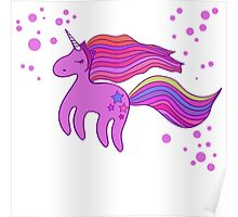 Cute cartoon unicorn in pink colors Poster