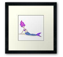 Cute cartoon mermaid in vivid colors  Framed Print