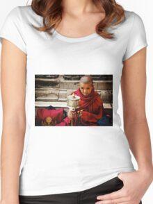 Tibetan Buddhist Nun Women's Fitted Scoop T-Shirt