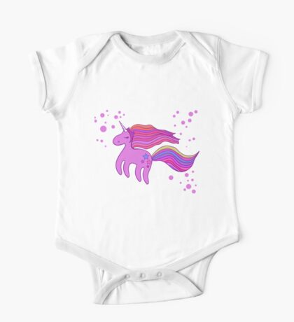 Cute cartoon unicorn in pink colors One Piece - Short Sleeve