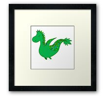 Cute cartoon dragon flying. Framed Print