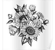 flowers in ink Poster