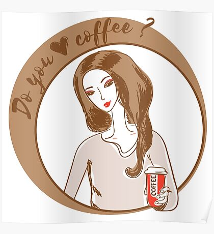 Illustration of young woman drinking coffee. Poster