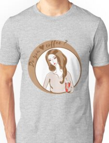 Illustration of young woman drinking coffee. Unisex T-Shirt