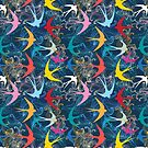 Graphic seamless pattern with  swallows by Tanor