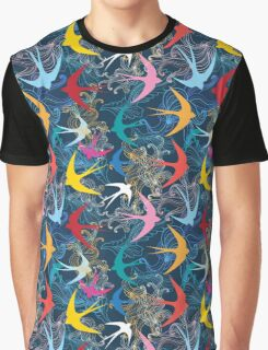 Graphic seamless pattern with  swallows Graphic T-Shirt