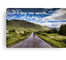Man on Long Winding Country Road Quote Impossible Until Done Canvas Print