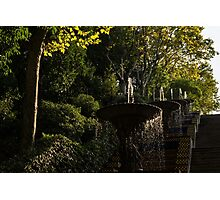 Joyful, Sunny Splashes - a Blue and Yellow Cascade in Montjuic Park, Barcelona, Spain Photographic Print