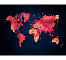 World map red Photographic Print