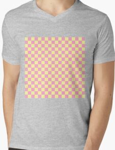 Squared yellow and purple mixed Mens V-Neck T-Shirt