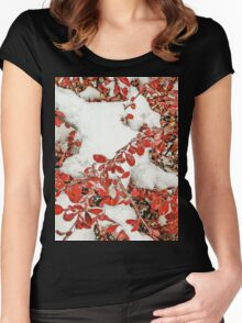 Leaves in the Snow Women's Fitted Scoop T-Shirt