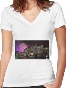 Spacey Metropolitan Museum Women's Fitted V-Neck T-Shirt