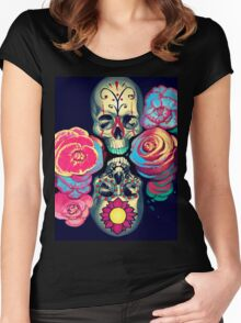 Skulls and Flowers Women's Fitted Scoop T-Shirt