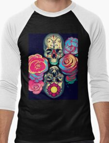 Skulls and Flowers Men's Baseball ¾ T-Shirt
