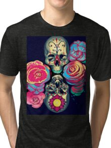Skulls and Flowers Tri-blend T-Shirt