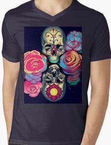 Skulls and Flowers Mens V-Neck T-Shirt