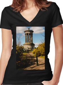 Dugald Stewart Monument (2) Women's Fitted V-Neck T-Shirt