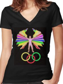 FULL SPECTRUM HUMANOID Women's Fitted V-Neck T-Shirt