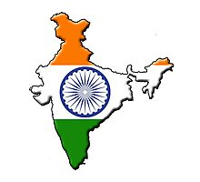 India flag and outline Photographic Print