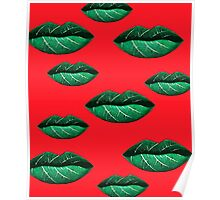 Green Lips Pattern Poster