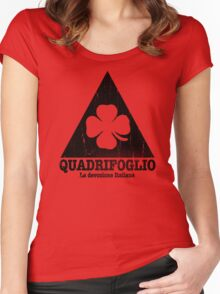 Quadrifoglio Cutout Black Vintage Graphic Women's Fitted Scoop T-Shirt
