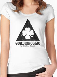 Quadrifoglio Cutout Black Vintage Graphic Women's Fitted Scoop T-Shirt
