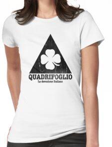 Quadrifoglio Cutout Black Vintage Graphic Womens Fitted T-Shirt
