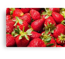 Red Strawberries Berries Fruit Strawberry Berry Background Canvas Print