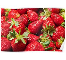 Red Strawberries Berries Fruit Strawberry Berry Background Poster