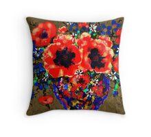 Joyful Poppies Throw Pillow