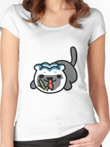 Cat Looking at a Fish Bowl Women's Fitted Scoop T-Shirt