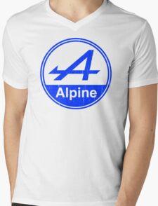 Alpine Blue Vintage Graphic Mens V-Neck T-Shirt