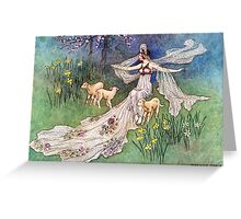Fairy and Lambs - Warwick Goble Greeting Card