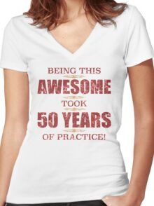 Awesome 50th Birthday Women's Fitted V-Neck T-Shirt