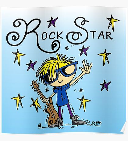 Blond Boy Rock Star Poster