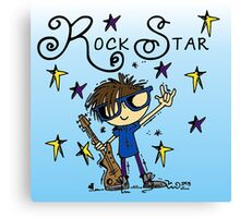Brown Hair Boy Rock Star Canvas Print