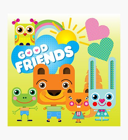 Cute Cartoon Animals Good Friends Photographic Print