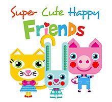 Super Cute Happy Animal Friends Photographic Print