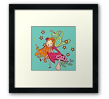 Beautiful Fairy Sitting on Mushroom Framed Print
