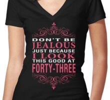 Dont' Be Jealous - 43 Women's Fitted V-Neck T-Shirt
