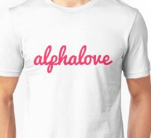 alpha love cursive red Unisex T-Shirt