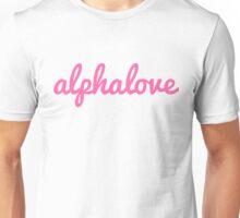 alpha love cursive pink Unisex T-Shirt