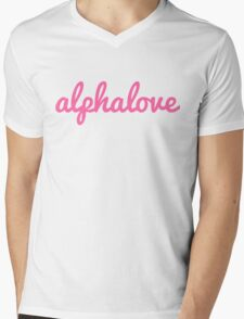 alpha love cursive pink Mens V-Neck T-Shirt