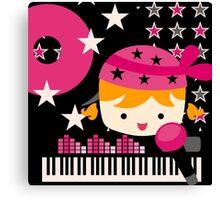Blond Hair Little Rock Star Girl Canvas Print