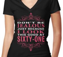 Don't Be Jealous - 61 Women's Fitted V-Neck T-Shirt