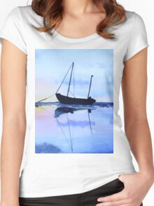 Single Boat Seascape Women's Fitted Scoop T-Shirt